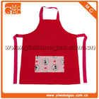 Little girl pvc pocket kids pretty red cotton cooking apron
