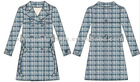 100% polyester Woven Double-Breasted Ladies Dress Coats