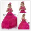 Pink Organza V-Neck Halter Ball Gown Beaded Flower Girls' Dresses