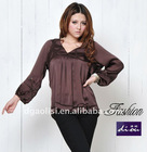 Elegant Ruffle Coffee Long Sleeve Casual Lady Blouse