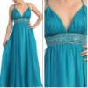 Best Seller A-line Ice Blue Chiffon Evening Dress with Straps