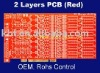 Two layer red solder rigid FR4 PCB and Assembly