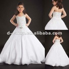 FG-050 Sweet halter neckline floor length ball gown tulle flower girl dress white