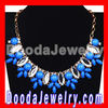Blue Crystal Resin Beads Flower Bib Necklace