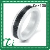 Cer105 White Ceramic 8mm inlay carbon fiber wedding rings