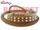 Genuine Leather Spiked Dog Collar&Lead