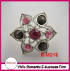 2012 fashion cheap girls silver rings with resin rhinestone