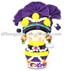 Purple Chinese lovely minority hanging doll with yellow & purple hood on head