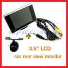 "China wholesale car rear view kit 3.5""HD digital TFT LCD screen with 2CH +Mini super waterproof plug-in back up camera"
