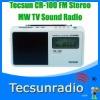 Retail-Wholesale Tecsun CR-100 FM Stereo MW TV Sound Pll Synthesized Radio cr100