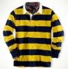 Custom men's long sleeve striped polo T shirt--yellow