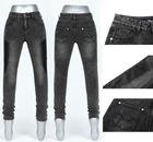 2012 popular denim legging comfortable design with top materail ---legging with studs