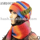 Rainbow color Set of knitted hat and scarf