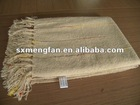 Summer Cool 100%Acrylic Chenille color yarn stripe Rectangle Throw/Scarf/Shawl with tassels/fringes