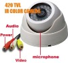 CCTV dome camera, CMOS IR Color 420TVL 24LED Audio IR Camera