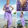Top Online A-line Halter Sequined Chiffon Purple Fancy Maxi Dress