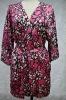print ladies' short satin robe