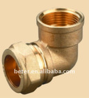 Brass Compression Fitting For Copper Pipe (Elbow Female)