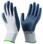 Grey foam nitrile coated nylon glove with a porous surface