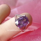 fashion big purple Zircon stone sterling silver ring jewelry and solid 925 silver gifts