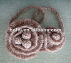 Knitted elastic hair bands with flower design