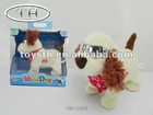 Mini walking dog soft plush toys wear cool glasses