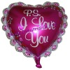 Pink Hearted-shape Aluminium Foil Balloon with letters
