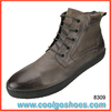 burnished toe leather casual boots for men