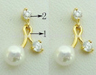 2012 latest charming earring with big pearl&zircon