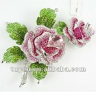 Pink Rose flower crystal brooch