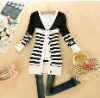 Korean New Arrival Stripe Lace Embellished Long Knitting Cardigan Black ZX12092704-3