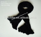 custom design plain black knitting pattern feather yarn scarf
