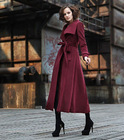 Autumn new medium style show thin collar double breasted wool woolen cloth coat