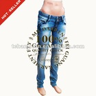 (#TG167W )2012 stretch denim hand stitching whisker decorative waistband latest designer jeans for woman