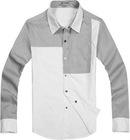 Two Tone British Style Man Long Sleeve Shirt