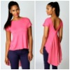 Ladies Dip Chiffon Hem Tee Shirts V Back TP1583