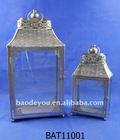 White metal home & garden decorative candle lantern