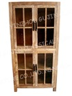 Vintage Reclaimed Solid Wooden Glass Display Cabinet