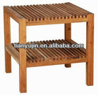 strong bathroom stool, solid wooden stool, 2 tier storage rack,walnut,oiled