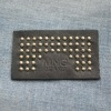 Fashion genuine leather patch with stud buttons