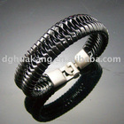 ha14-330 braided PU leather bracelet with alloy buckle