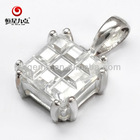 Good Quality 9*9mm Bean Curd Cut White CZ Pendant with the Best Price 1P001545A