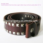 "Small Studded Punk Rock Emo Light Coffee Snap On Genuine Leather Belt 1.5"" W"