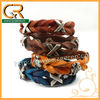 030660 Hot 2013 snap closure X shape braided wholesale leather bracelet