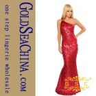 ZF 545 hot seller silver red sexy popular one shoulder evening dress gown mermaid tails dress