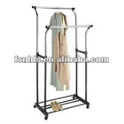 Flared Double Garment Rack, Black/Chrome