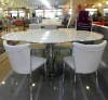 2013 New Style-modern round glass dining table designs-L819