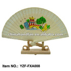 customized imitation sandalwood hand fans with stand