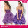 AZ0648 Beading Rhinestone Handmade Flower Purple Sexy Girls Party Dress