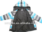 Boys Zipper fleece striped hoodies with lining 2013 stylish